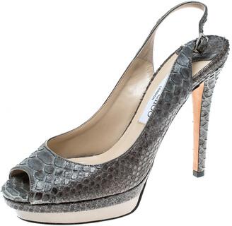 Jimmy Choo Grey Python Peep Toe Slingback Platform Sandals Size 38.5