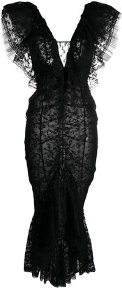 Alessandra Rich V-neck floral lace detail dress