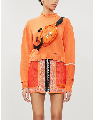 Heron Preston High-waist cotton-blend tweed mini skirt
