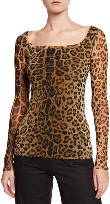 Fuzzi Leopard-Print Scoop-Neck Long-Sleeve Top