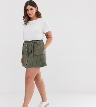 Asos DESIGN Curve linen pleat mini skirt with button front and pockets-Green