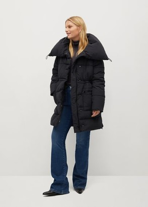 MANGO Quilted coat with collar