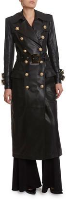 Balmain Long Leather Trench Coat