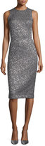 Michael Kors Sleeveless Metallic Jacquard Sheath Dress, Fawn/Gold