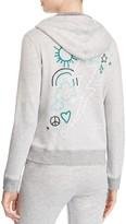 Sundry Doodles Embroidered Zip Front Hoodie Sweatshirt