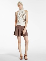 Halston Embellished Crepe Top