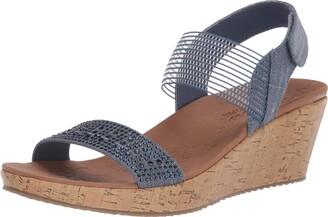 Skechers Beverlee-Pretty Chic - Sparkle Linen Rhinestone Sling Back Sandal Navy