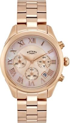 Rotary Womens Chronograph Quartz Watch with Rose Gold Bracelet Strap LB007/C/25