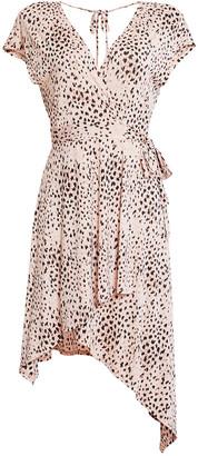 BCBGMAXAZRIA V-Neck Asymmetric Knit Dress