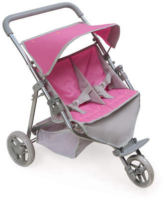 Badger Basket Trek 3-Wheel Folding Twin Doll Jogging Stroller