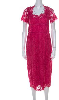 Marchesa Notte Pink Lace Sheath Dress M