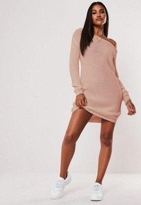 Missguided Petite Pink Off The Shoulder Knit Sweater Dress