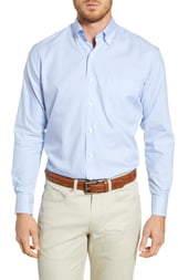 Peter Millar Capri Regular Fit Stretch Cotton & Silk Stripe Button-Down Sport Shirt