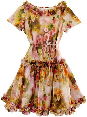 Helena Girl's Floral-Print Chiffon Ruffle Trim Dress, Size 3-6