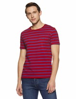 Private Label Something for Everyone Maroon Men's Casual Crew Neck Single Jersey with Blue Striper Regular Fit T-Shirt Extra Large