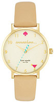 Kate Spade Novelty Metro It's 5:00 Somewhere Leather-Strap Watch