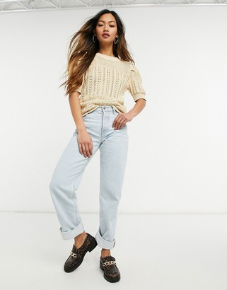 Y.A.S crochet jumper with short sleeves in beige