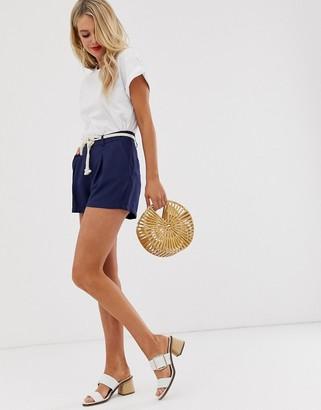 Glamorous tailored shorts with rope belt-Navy