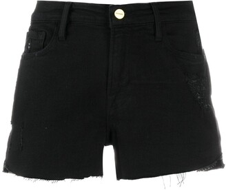 Frame Le Cutoff distressed denim shorts