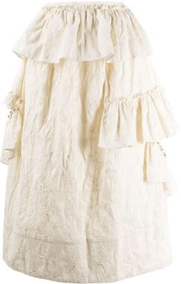 Simone Rocha Pearl Embellished Ruffle Skirt
