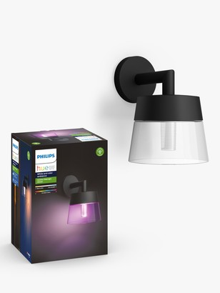 Philips Hue White and Colour Ambiance Attract LED Outdoor Wall Light, Black
