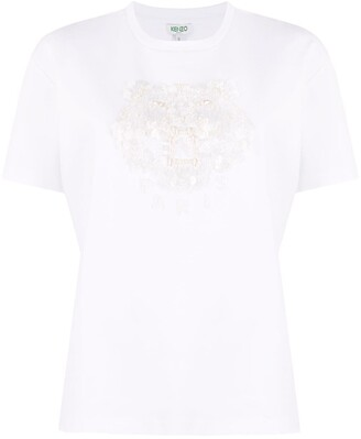 Kenzo Tiger sequin and bead-embellished T-shirt