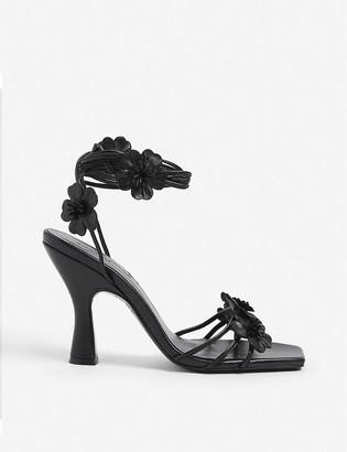 The Kooples Floral-embellished leather heeled sandals