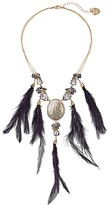 Betsey Johnson Black Feather Drama Necklace