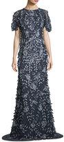 Theia Short-Sleeve Satin Column Evening Gown