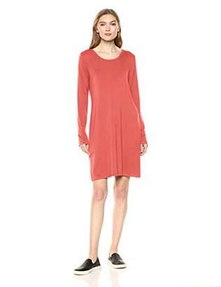 Amazon Brand - Daily Ritual Women's Jersey Long-Sleeve Scoop-Neck T-Shirt Dress