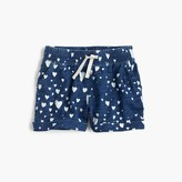 J.Crew Girls' pull-on short in bleached heart print