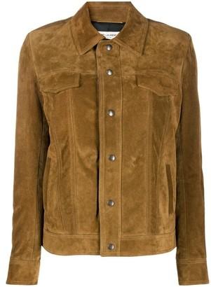 Saint Laurent Brown Fringe Suede Leather Jacket
