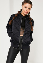 Missguided Quilted Satin Bomber Jacket Navy