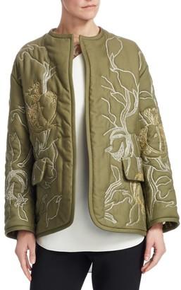 Oscar de la Renta Bead Embroidered Cotton Jacket