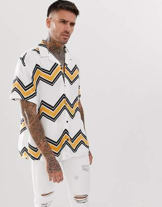 Asos Design DESIGN relaxed fit chevron stripe shirt with revere collar in white