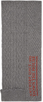Raf Simons Grey Wool Asymmetric Scarf