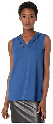 Calvin Klein Sleeveless V-Neck Top with Bead Detail (Dark Mallard) Women's Clothing