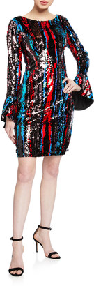 Jovani Sequined Bateau-Neck Bell-Sleeve Short Dress