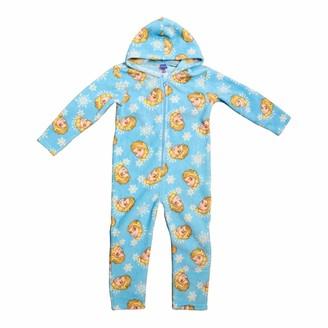 Disney Girls Frozen Onesie Kids Elsa Hooded Zip Soft Fleece Pyjamas Age 2-3 Yrs Blue