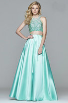 Faviana s7827 Frosted satin two piece with fully beaded bodice