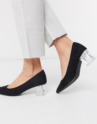 New Look clear low block heeled shoes in black