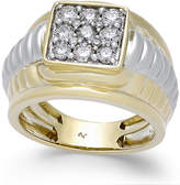 Macy's Men's Diamond Square Cluster Two-Tone Ring (1 ct. t.w.) in 10k Gold and White Gold