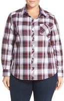 Foxcroft Plaid Cotton Long Sleeve Shirt (Plus Size)