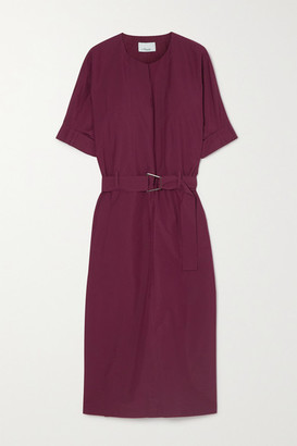 3.1 Phillip Lim Belted Cotton-blend Poplin Midi Dress - Burgundy