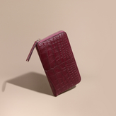 Burberry Alligator And Leather Ziparound Wallet, Red
