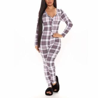 Ycyu Women's Sexy Deep V Neck Long Sleeve Bodycon Jumpsuit Button-Down Front Pajamas One Piece Romper Sleepwear (Grey Plaid L)