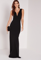 Missguided V Plunge Maxi Dress Black
