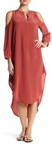Acrobat Cold Shoulder Hi-Lo Silk Maxi Dress