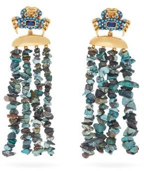 BEGÜM KHAN Mykonos King Crab Turquoise Clip Earrings - Blue
