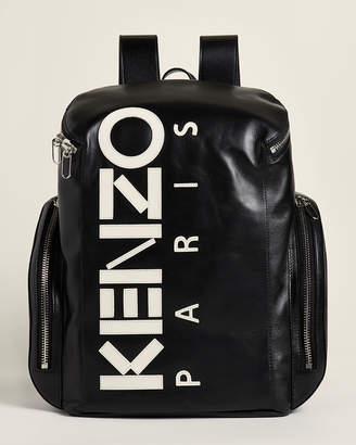 Kenzo Black & White Leather Logo Backpack